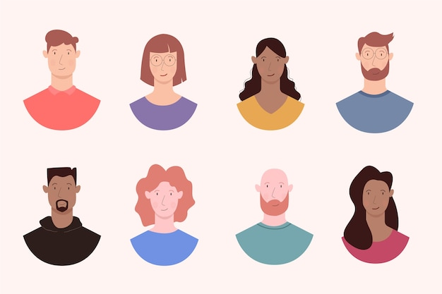 Kleurrijke mensen avatars Gratis Vector