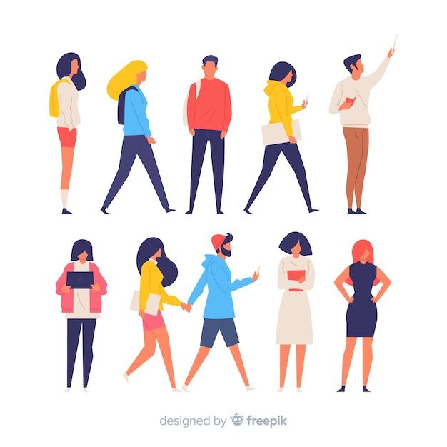 Kleurrijke mensen die verschillende acties doen Gratis Vector