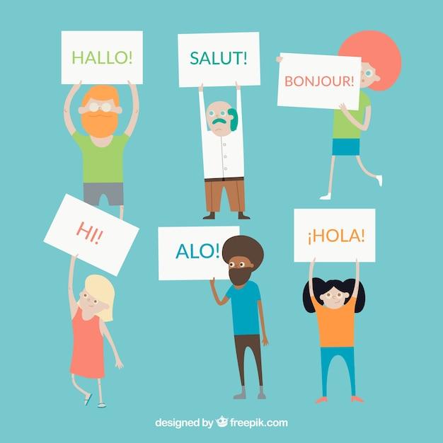 Kleurrijke mensen die verschillende talen spreken met een plat ontwerp Gratis Vector