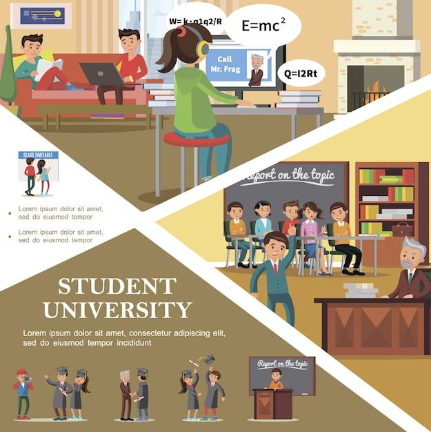 Kleurrijke mensen in universiteits vlak malplaatje met studenten in klaslokaal die zich dichtbij tijdschema bevinden die examen voorbereidingen treffen te overgaan en graduatie van universiteit vieren Gratis Vector