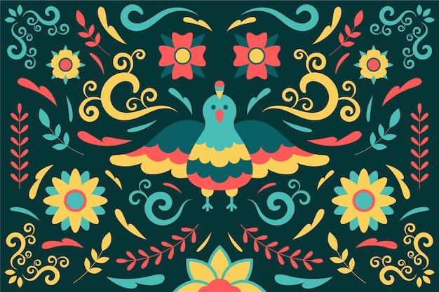 Kleurrijke mexicaanse achtergrond met vogel Gratis Vector