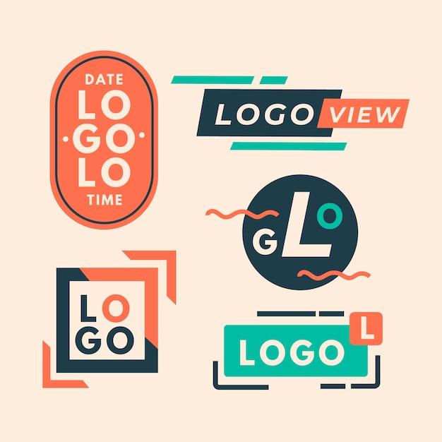 Kleurrijke minimale logo-collectie in retrostijl Gratis Vector