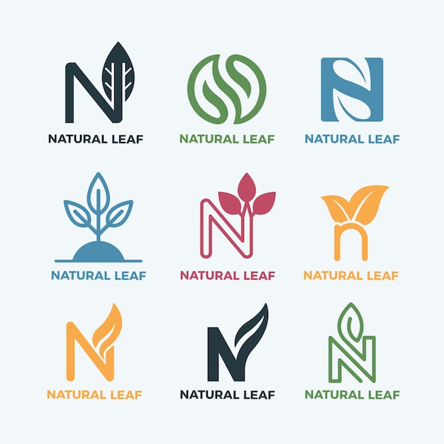 Kleurrijke minimale logo's in vintage stijl Gratis Vector