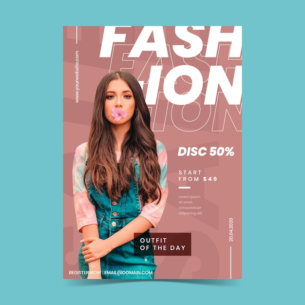 Kleurrijke mode-poster met foto Gratis Vector