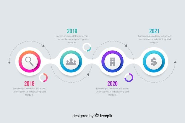 Kleurrijke moderne tijdlijn infographic sjabloon Premium Vector