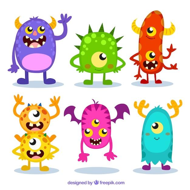 Kleurrijke monster set Gratis Vector
