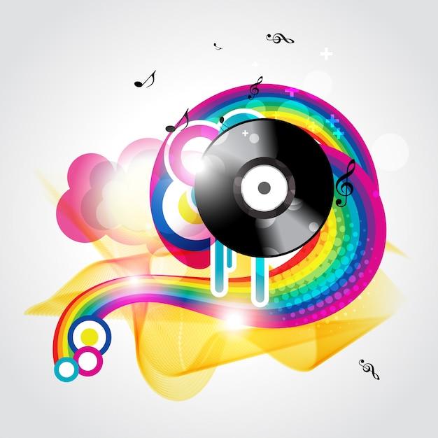 Kleurrijke muziek achtergrond Gratis Vector