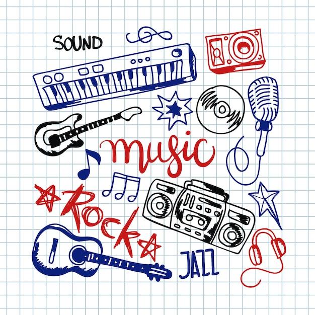 Kleurrijke muziekachtergrond. Gratis Vector