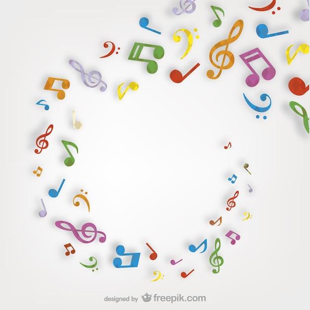 Kleurrijke muzieknoten dwarrelen Gratis Vector