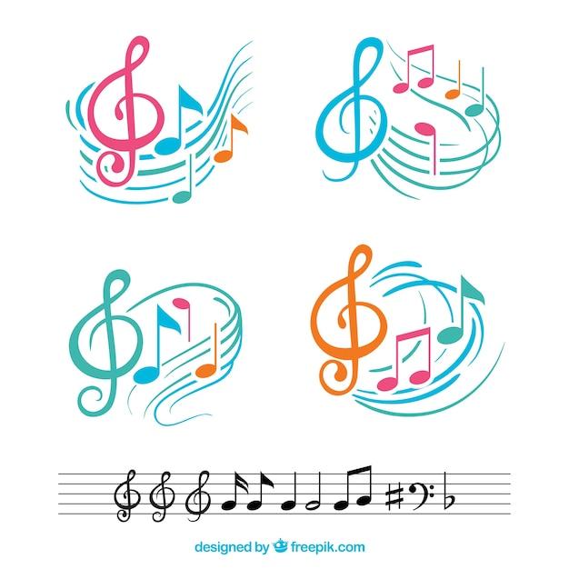 Kleurrijke muzieknoten met abstracte notenbalken Gratis Vector