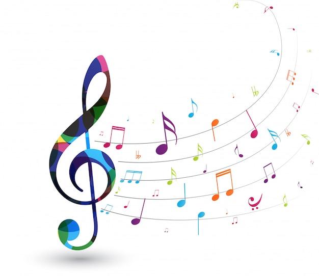 Kleurrijke muzieknoten Premium Vector