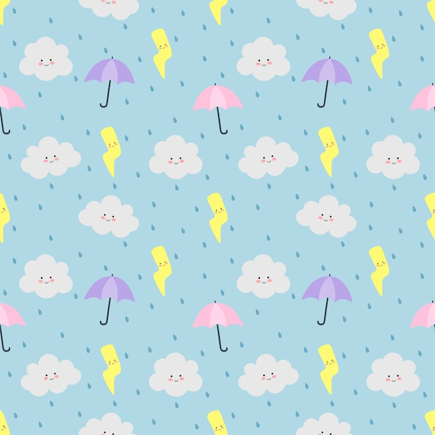 Kleurrijke naadloze patroonwolken, paraplu, regen en bliksem op blauw Premium Vector