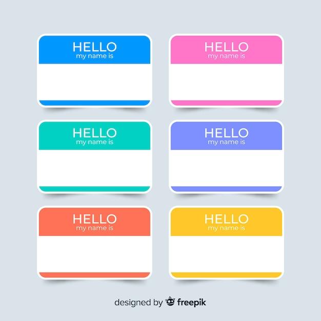 Kleurrijke naam tag sjabloonverzameling Gratis Vector