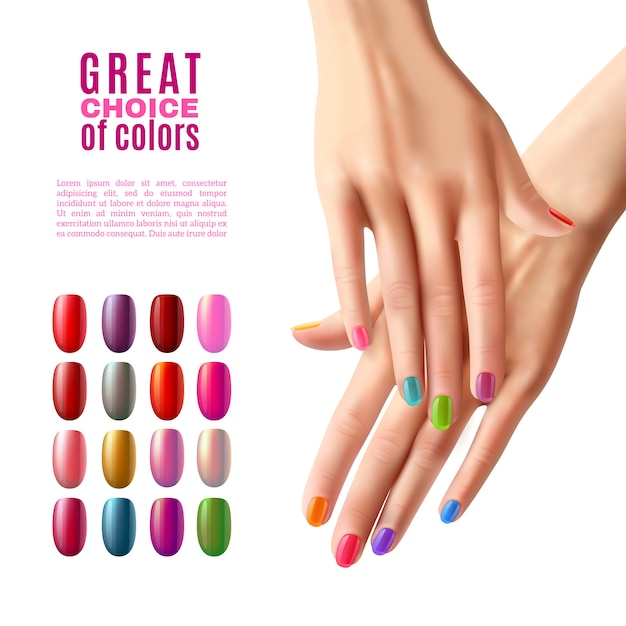 Kleurrijke nagels set hands manicure poster Gratis Vector