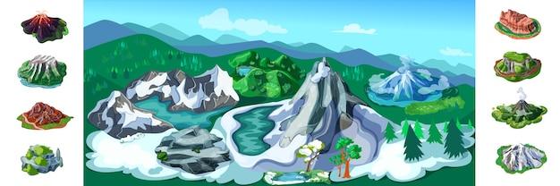 Kleurrijke natuur landschap achtergrond met prachtige besneeuwde bergen vulkanen bomen heuvels verschillende rotsen en pieken Gratis Vector