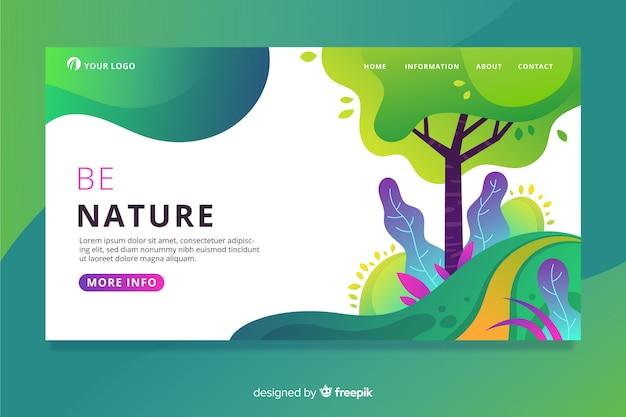 Kleurrijke natuurlandingspagina Gratis Vector
