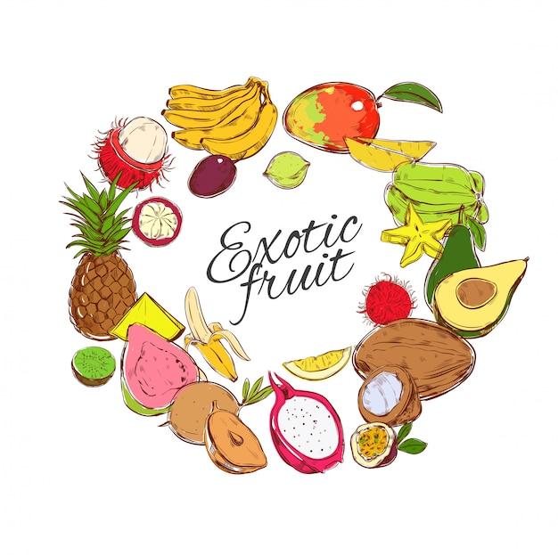 Kleurrijke natuurlijke tropische vruchten ronde concept Gratis Vector