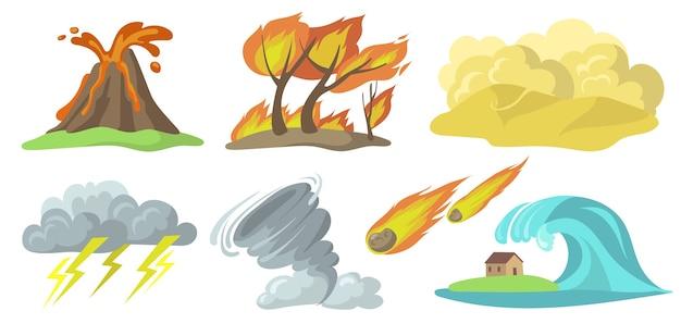 Kleurrijke natuurrampen platte set Gratis Vector