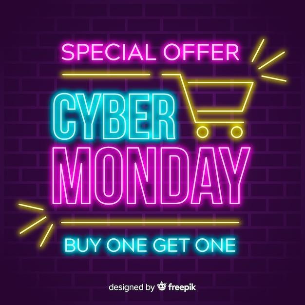 Kleurrijke neon cyber maandag Gratis Vector