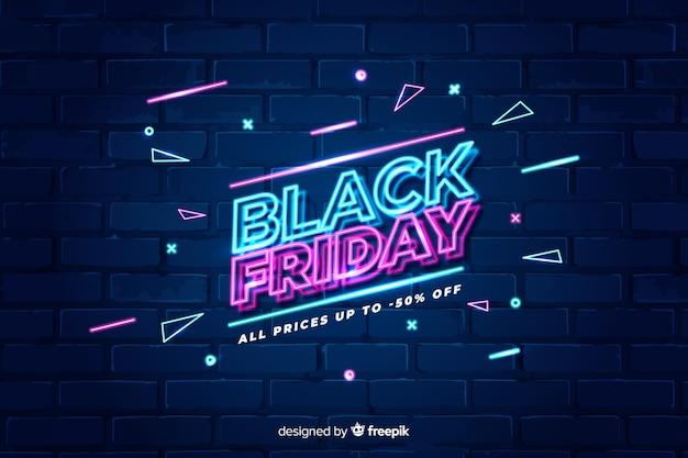 Kleurrijke neon zwarte vrijdag Gratis Vector