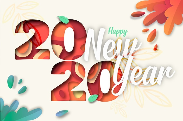 Kleurrijke nieuwe jaar 2020 achtergrond in papierstijl Gratis Vector