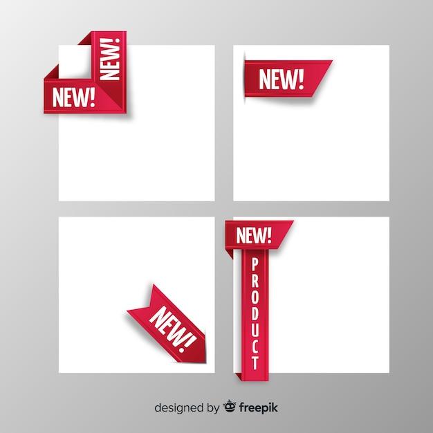 Kleurrijke nieuwe productetiketinzameling Premium Vector