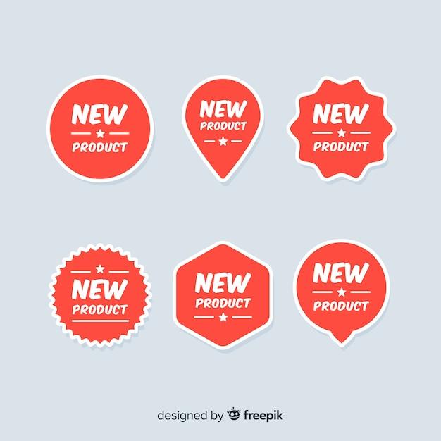 Kleurrijke nieuwe productetiketinzameling Gratis Vector