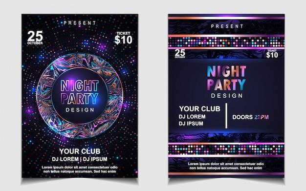 Kleurrijke night dance party muziek flyer of posterontwerp Premium Vector