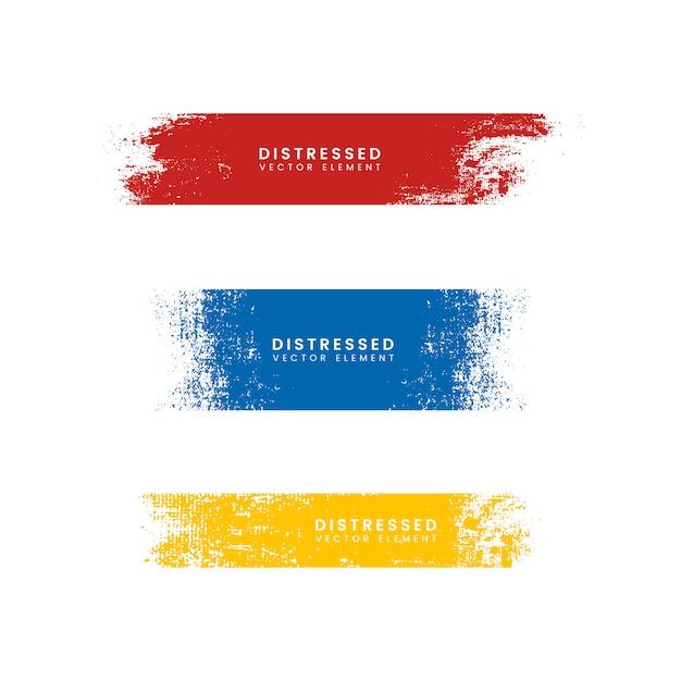 Kleurrijke noodlijdende banners Gratis Vector