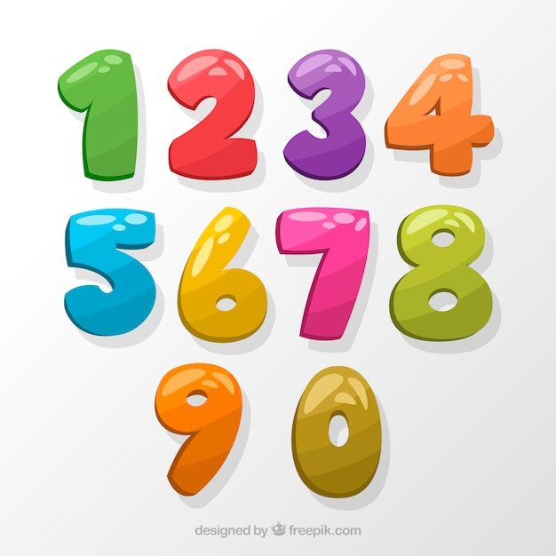 Kleurrijke nummerinzameling Gratis Vector