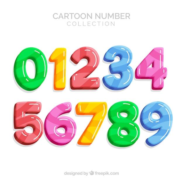 Kleurrijke nummerinzameling Premium Vector