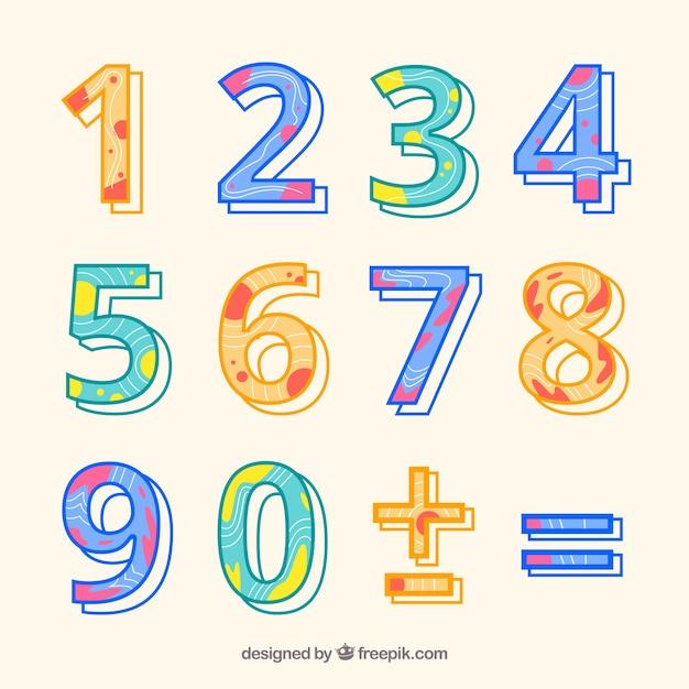 Kleurrijke nummerverzameling met plat ontwerp Gratis Vector