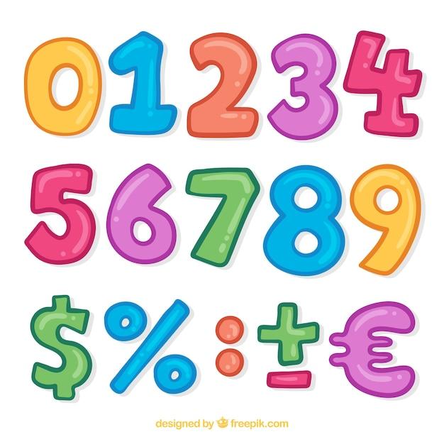 Kleurrijke nummerverzameling met tekens Gratis Vector