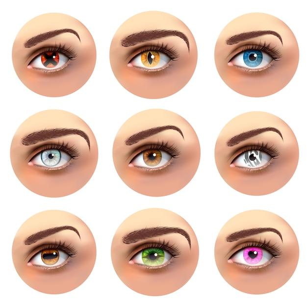 Kleurrijke ogen met verschillende leerlingen set Gratis Vector