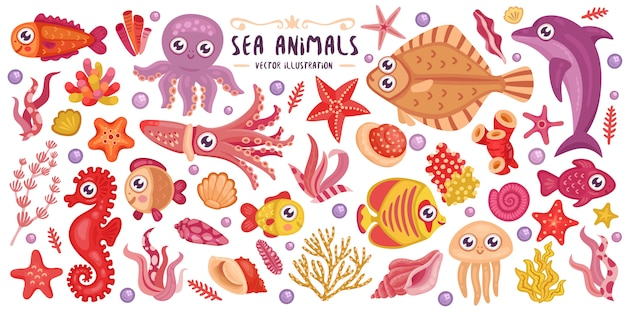 Kleurrijke onderwater dieren set Premium Vector