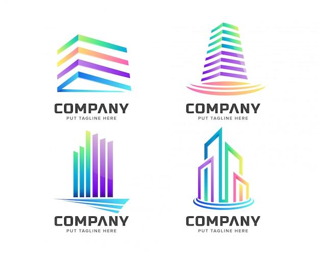 Kleurrijke onroerend goed logo set collectie Premium Vector