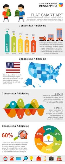 Kleurrijke onroerende goederen of financiële concept infographic grafieken instellen Gratis Vector