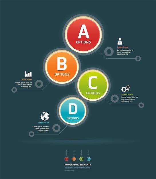 Kleurrijke opties infographic sjabloon Premium Vector