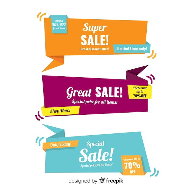 Kleurrijke origami verkoop banners Gratis Vector