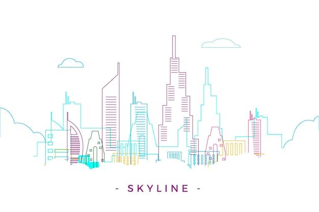 Kleurrijke overzicht oriëntatiepunten skyline Gratis Vector