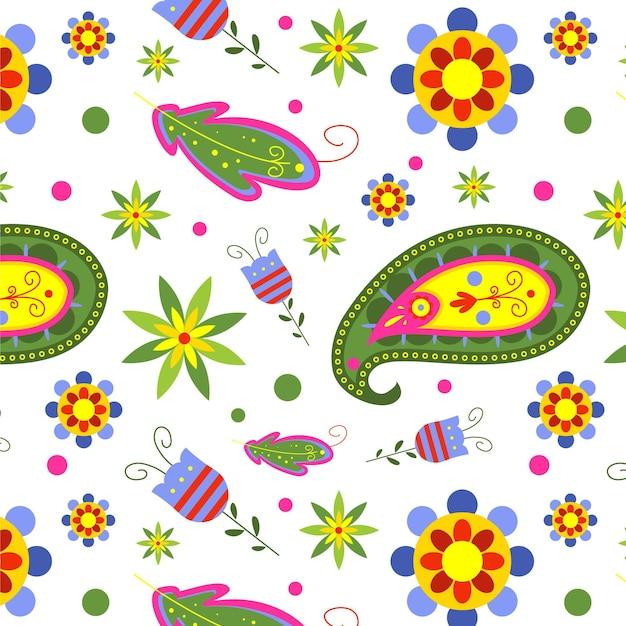 Kleurrijke paisley naadloze patroon sjabloon op witte achtergrond Gratis Vector