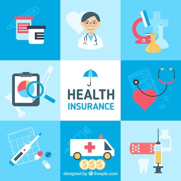 Kleurrijke pak gezondheidszorg illustraties Gratis Vector