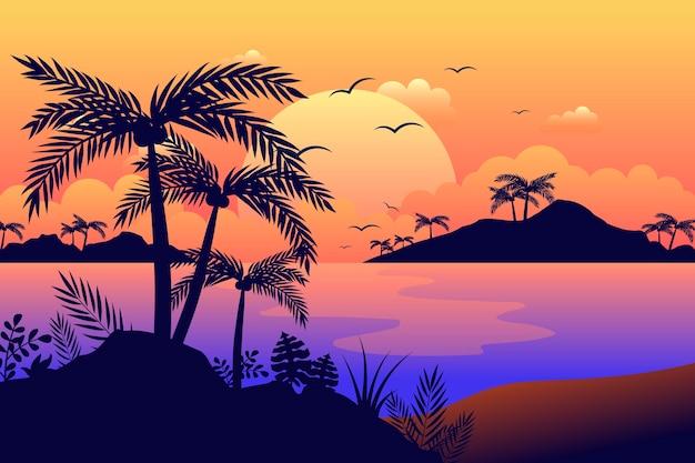 Kleurrijke palm silhouetten achtergrond Gratis Vector