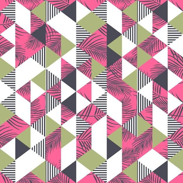 Kleurrijke palmbladen en driehoekspatroon Premium Vector