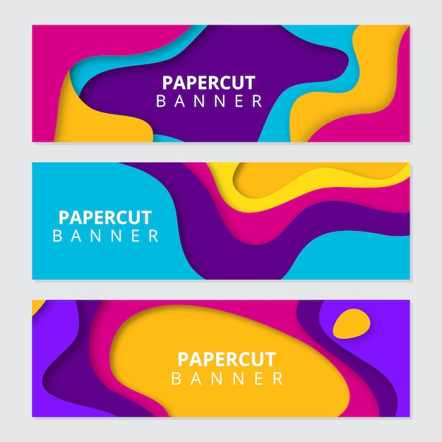 Kleurrijke papier gesneden banners Premium Vector