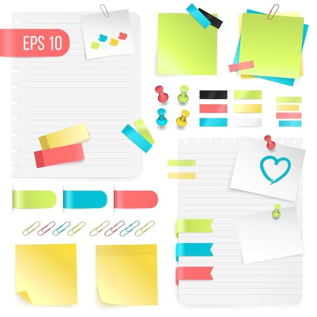 Kleurrijke papieren notities instellen Gratis Vector