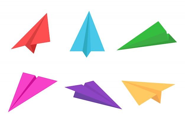 Kleurrijke papieren vliegtuig of origami vliegtuig pictogramserie Premium Vector
