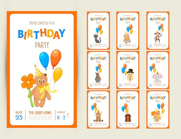 Kleurrijke partij uitnodigingskaart met schattige dieren op een witte achtergrond Premium Vector