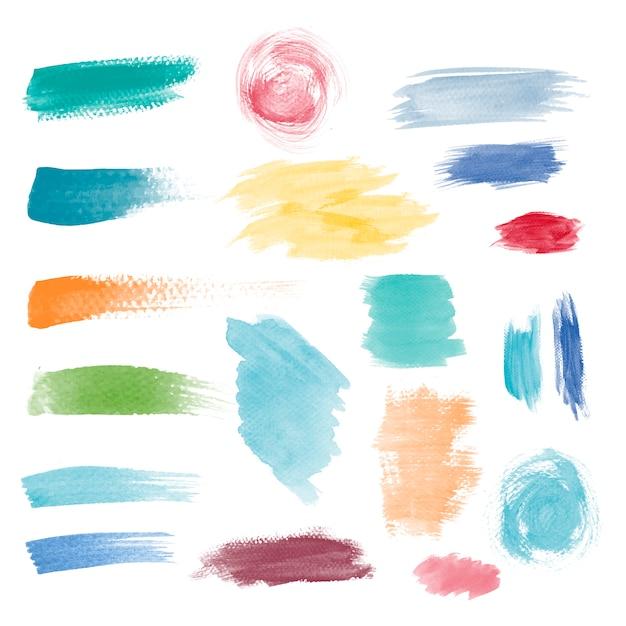 Kleurrijke penseelstreek ontwerp vector set Gratis Vector
