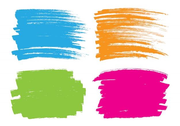 Kleurrijke penseelstreek set Premium Vector